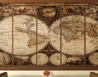 Best 25 vintage world maps ideas on pinterest and giant world map world map triptych etsy giant vintage world map poster gumiabroncs Gallery