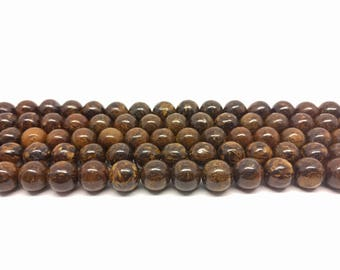 Bronzite Beads Gemstone Beads  Round Beads Natural Beads  Mala Beads Beading Supplies Jewelry Making Yoga Beads Brown Beads Jasper Beads
