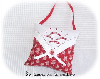 Pillow of door - white and red - tones with old embroidery - handmade.