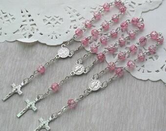 24 Pcs Rosebud Mini Rosary Favor for Baptism Pink / Christening / First Communion / Sweet 15 / Wedding / Recuerdos de Bautizo JA164-Pnk