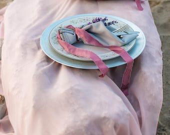 silk chiffon  runner   wedding runner   wedding tablecloth   gray overlay   dusty rose weddings  mauve wedding decor   table decor   wedding