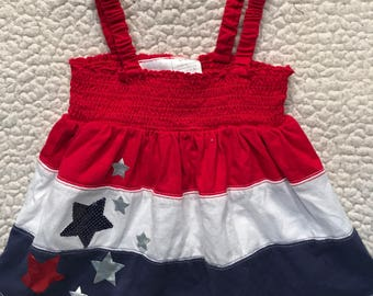 Red, White, and Blue with Stars Puppy Dress
