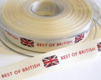 British ribbon, Best of British vintage styled ribbon, 15mm, Sold Per Metre UK MADE