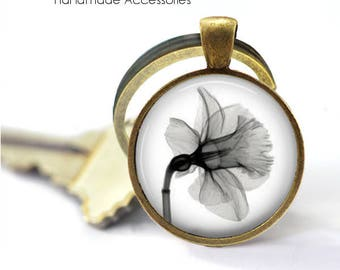 Daffodil Key Ring • X-Ray of a Daffodil • Daffodil X-Ray • Black and White Flower • Spring Flower • Gift Under 20 • Made in Australia (K394)
