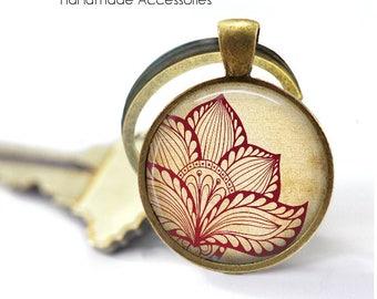 Henna Lotus Flower Key Ring • Lotus Flower • Hindu Om • Mandala • Meditation • Wedding Mandala • Gift Under 20 • Made in Australia (K519)