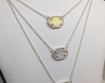 "Hexagon Druzy Pendant Necklace, 18"" Silver Chain"