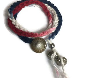 Red White and Blue Bracelet, Patriotic Bracelet, Crocheted Wrap Bracelet, USA Jewelry, necklace, anklet, boho jewelry
