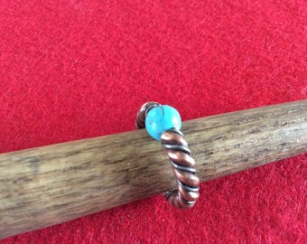 Copper and silver twist ring with turquoise stone