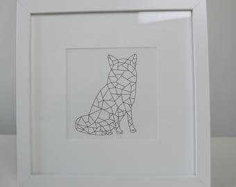 Framed Geometric Fox Print
