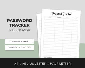 Password Tracker, Password Log, Password Tracking, Password Organizer, Printable Insert, Password List, Password Sheet, A4, A5, US Letter