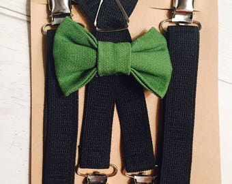 Bow tie set, Baby suspenders, Christmas bow tie, Green bow tie,  toddler suspenders, bow tie with suspenders, black suspenders, suspenders
