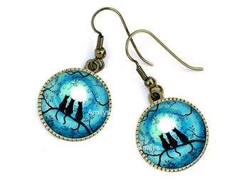 Family sunset black branches cats, blue earrings, mother's day
