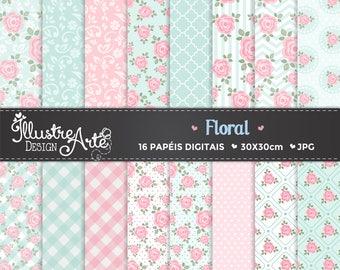 Floral Flowers Digital Paper