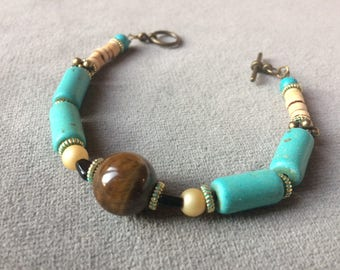 "Bracelet ""Turkish"", turquoise and Tiger eye"