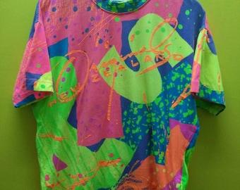 Vintage New Zealand Multi Color T Shirt Rare