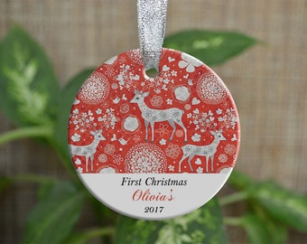 Personalized Christmas Ornament, Baby First Christmas ornament, Custom Ornament, Newborn baby gift, deer ornament, Christmas gift. o016