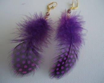 #Eté - purple Guinea fowl feather earrings