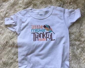 Little Mister thankful t shirt for thanksgiving turkey day
