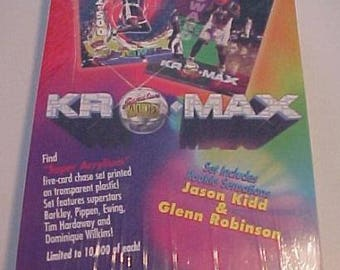 1994 KRO-MAX CHROME Basketball Wax Box One Autographed card per Box Numbered 12610 of 16250 Printed