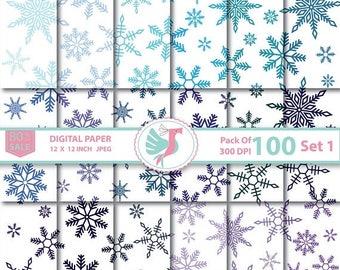 ON SALE 100 Snowflake Digital Paper Frozen Winter Christmas Digital Paper Rainbow Snowflake Commercial Use Printable Snowflake Scrapbook