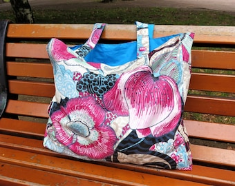 Tote bag, coated floral fabric, shoulder bag, lined canvas beach bag,