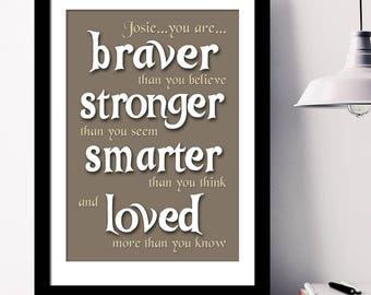 You are Braver Stronger Smarter Loved -  Personalised Word Art Print or Canvas