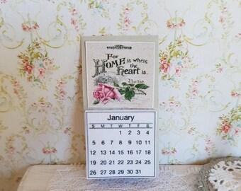 Dollhouse Miniatures,Dollhouse Calendar,Doll house Calendar,Miniature Calendar,Home is where heart is,Shabby Chic Miniatures,1:12th scale