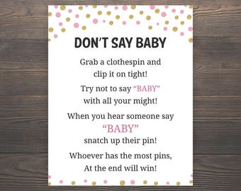 Pink Gold Baby Shower Games, Dont say Baby, Girl Baby Shower, Pink Baby Shower, Gold Baby Shower, Clothespin Game, Printable Games, GP5