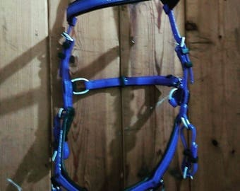 Blue Biothane bridle  bitless sidepull cob and full sizes with reins