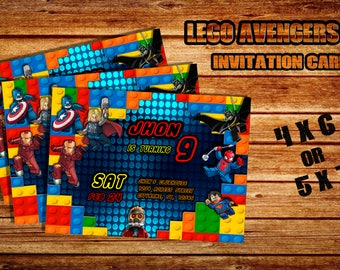 digital card invitation Lego Avengers