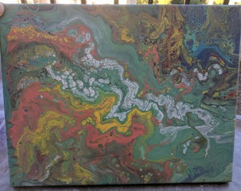 Abstract Painting - Acrylic Paint Pour 11' x 14'