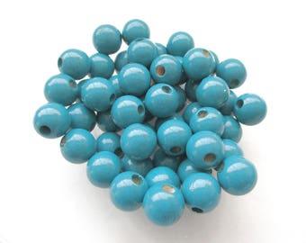 50 wooden pacifier clip 8 mm - blue beads