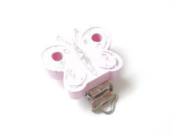 Wooden pacifier - soft pink Glitter Butterfly clip