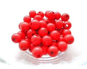 25 pacifier 12mm - red wooden beads
