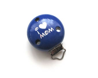 Wooden clip I Love Mom Glitter Marine