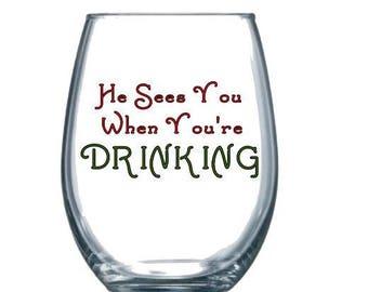 Holiday wine glass | Etsy