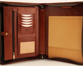 Noda Italian Genuine Leather Zipped Business Conference A4 Folder Padfolio  Cognac