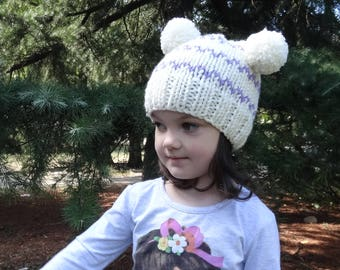 SALE Toddler Girl Hat, Toddler Knit Hat, Double Pom Pom Hat, Hand Knit Hat Toddler Knit Beanie Toddler Girl Pom Pom Hat