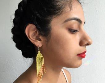 Yellow-Green Slanted Earrings