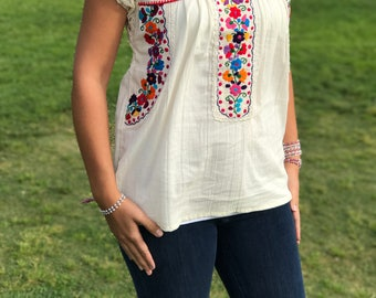 Mexican Hand Woven Top / Mexican embroidered blouse