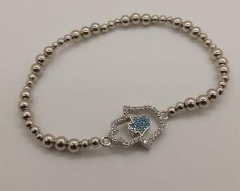Sterling Silver Bracelet kabbalah Hamsa Hand Charm Pray Judaica Unique New