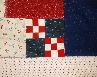 American Craft Fabric remant lot • Red White & Blue