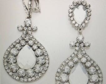 Crystal AB Silver and Clear earrings