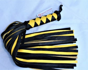 Black and Yellow Leather Flogger