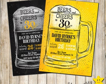 Digital Cheers and Beers birthday invitation. Man birthday invite. 40th birthday, 50th birthday, 30th Birthday. Any Age