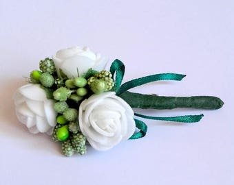 White boutonniere, Wedding accessory, Groom accessories, White flowers, Wedding flowers, Flowers for groom, Wedding boutonniere, Greenery