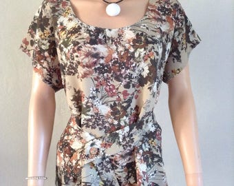 Blouse flowing floral and foliage 36/38/40/42/44/46/48