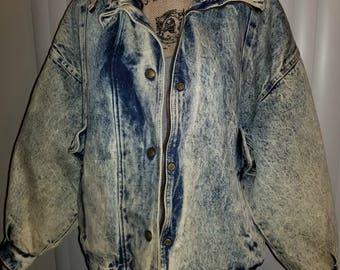 VTG Acid Wash 80s Jean Jacket Vintage 80s 90s Oversized Denim