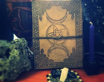 Leather bound Spell book, Book of Shadows, Journal, Sketch