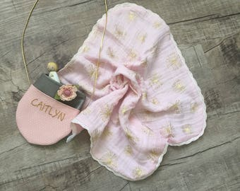 Blush/Metallic Gold Double Gauze Muslin lace lovey blanket/baby lovey blanket or burpcloth with blush pink lace trim/ baby lovey person